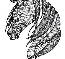 Zentangle Patterned Horse by AmandaRuthArt