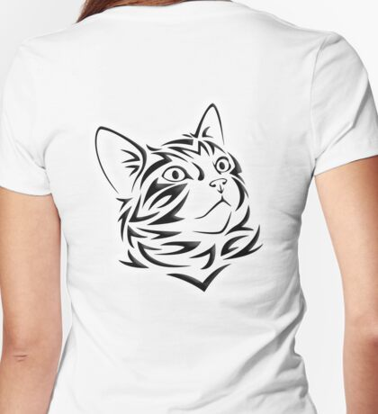 Kitten, Pet, Cat, Tribal Cat, Cat looking Up, Feline, Puss, Pussy Womens Fitted T-Shirt