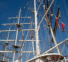 Tenacious rigging against a blue sky by Keith Larby