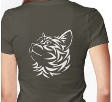 Kitten, Pet, Cat, Tribal Cat, Cat looking Up, Feline, Puss, Pussy, White Womens Fitted T-Shirt