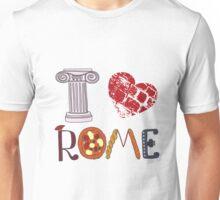 Cute letters with Roman elements pizza, pasta, column Unisex T-Shirt