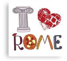 Cute letters with Roman elements pizza, pasta, column Canvas Print