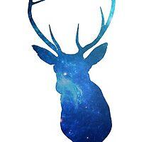 Blue Deer in Space by postcardsbeyond