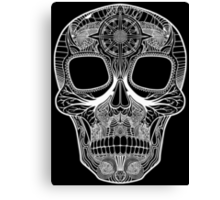 Inked Candy Skull - Journey - White Canvas Print