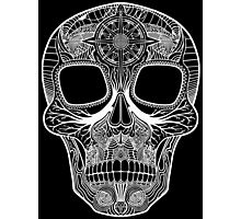 Inked Candy Skull - Journey - White Photographic Print