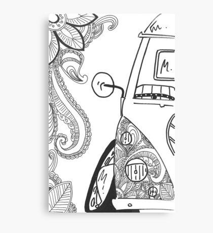 VW Split Screen Camper Van Zinetangle Black & White Canvas Print