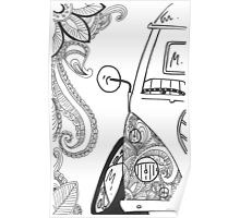 VW Split Screen Camper Van Zinetangle Black & White Poster