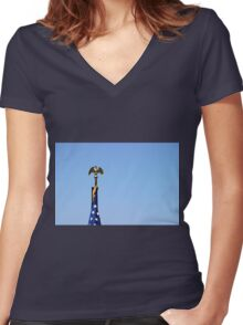 USA Flag Top Women's Fitted V-Neck T-Shirt