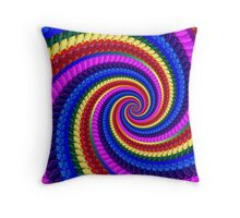 Rainbow Psychedelic Spiral Fractal Pattern Throw Pillow