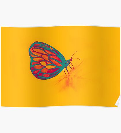 Colorful watercolor of butterfly  Poster