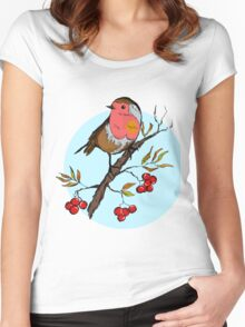 Winter design with illustration of Robin bird Women's Fitted Scoop T-Shirt
