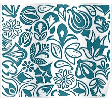 BLUE GARDEN, Blue floral folksy pattern, Lino cut printed nature inspired hand printed pattern Poster