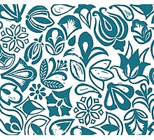 BLUE GARDEN, Blue floral folksy pattern, Lino cut printed nature inspired hand printed pattern Photographic Print