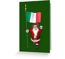 Santa Claus With Flag Of Italy Greeting Card