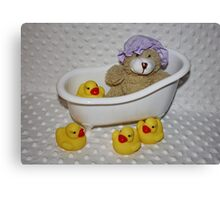 Teddy's Bathtime Canvas Print