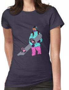 Snowboarder girl in mountain Womens Fitted T-Shirt