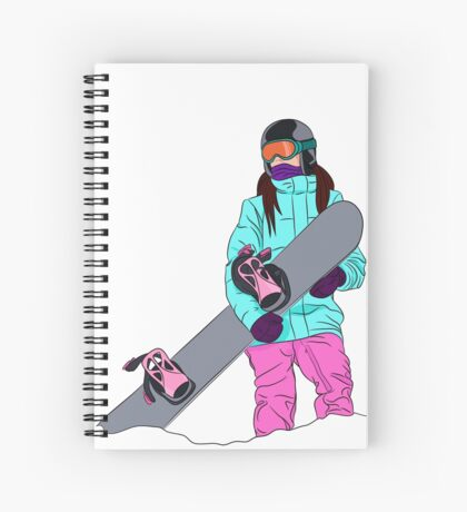 Snowboarder girl in mountain Spiral Notebook