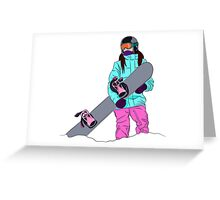 Snowboarder girl in mountain Greeting Card
