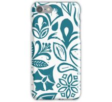 BLUE GARDEN, Blue floral folksy pattern, Lino cut printed nature inspired hand printed pattern iPhone Case/Skin