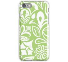 GREEN GARDEN, floral folksy pattern, Lino cut printed nature inspired hand printed pattern iPhone Case/Skin