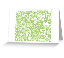 GREEN GARDEN, floral folksy pattern, Lino cut printed nature inspired hand printed pattern Greeting Card
