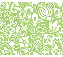 GREEN GARDEN, floral folksy pattern, Lino cut printed nature inspired hand printed pattern Photographic Print