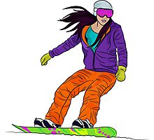 Snowboarder girl Photographic Print