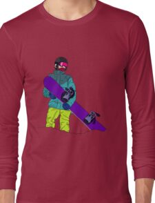 Snowboarder man with snowboard Long Sleeve T-Shirt