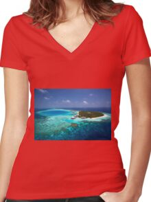 Maldives - Aerial View Women's Fitted V-Neck T-Shirt