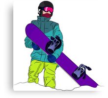 Snowboarder man with snowboard Canvas Print