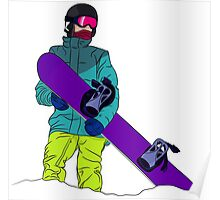 Snowboarder man with snowboard Poster