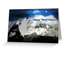 Husky, Santa and Moon Happy Holidays Card Greeting Card