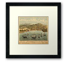 Vintage Pictorial Map of San Francisco (1884)  Framed Print