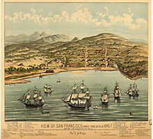 Vintage Pictorial Map of San Francisco (1884)  Photographic Print
