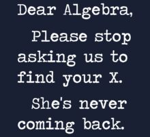 Dear Algebra Please Stop Asking Us To Find Your X by TheShirtYurt