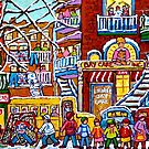 TEDDY BEAR DAYCARE MONTREAL WINTER STREET SCENE WITH HOCKEY by Carole  Spandau