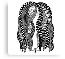 African Braids Hair Strands Zentangle by Hamlet Pericles Canvas Print