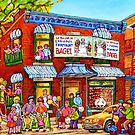 STREET PARTY FAIRMOUNT BAGEL MONTREAL STREET FAMILY FUN SUMMER STREET SCENE by Carole  Spandau