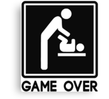 Game Over New Baby for Parent Dad Canvas Print
