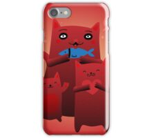Mom Cat and Kittens Fish Snack iPhone Case/Skin