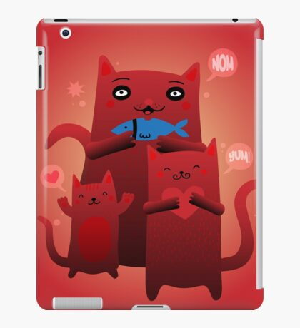 Mom Cat and Kittens Fish Snack iPad Case/Skin