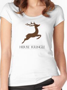 House Kringle Santa Red Nosed Reindeer Sigil Women's Fitted Scoop T-Shirt