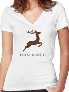House Kringle Santa Red Nosed Reindeer Sigil Women's Fitted V-Neck T-Shirt