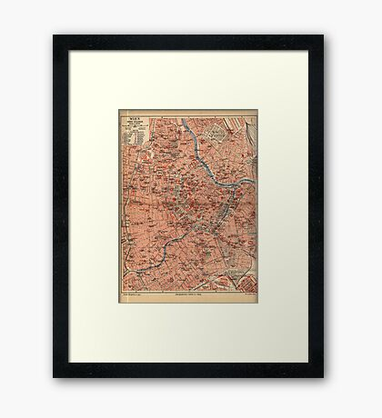 Vintage Map of Vienna Austria (1920) Framed Print