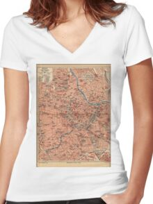Vintage Map of Vienna Austria (1920) Women's Fitted V-Neck T-Shirt
