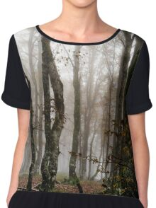 Beautiful autumnal forest with fog, moss and red leaves, Alsace, France Chiffon Top