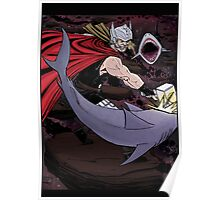 Thor Fighting Space Sharks Poster