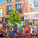 ST.LAURENT ICE CREAM SHOP RIPPLES MONTREAL SUMMER STREET SCENE by Carole  Spandau