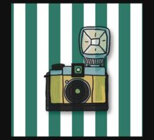 Modern,fun,hand painted camera on vertical, green,white,bacgkground,trendy,cute,contemporary pattern Kids Tee