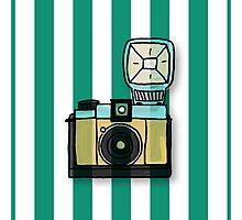 Modern,fun,hand painted camera on vertical, green,white,bacgkground,trendy,cute,contemporary pattern Photographic Print